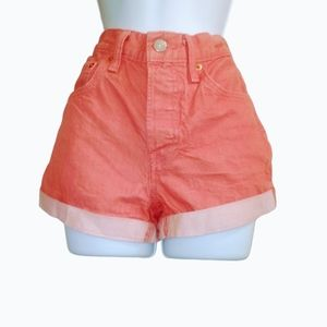 Levis coral high waisted jean shorts